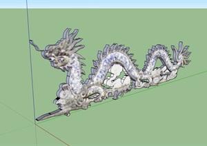 古典龙雕塑素材设计SU(草图大师)模型