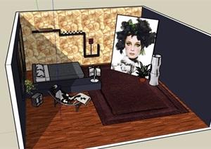 某住宅卧室室内设计SU(草图大师)模型