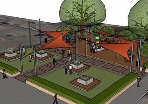现代风格小游园广场设计SU(草图大师)模型