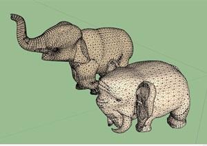 两只大象雕塑素材设计SU(草图大师)模型