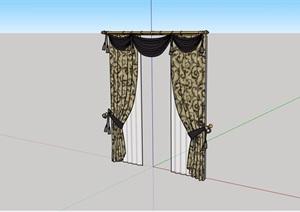 某现代风格室内窗帘布艺素材设计SU(草图大师)模型