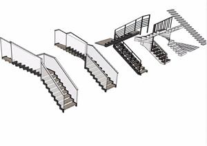 多個建筑樓梯素材設計SU(草圖大師)模型