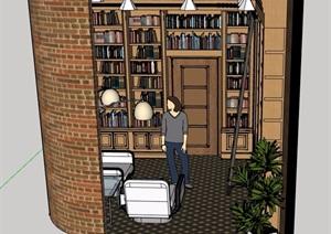 现代风格图书室设计SU(草图大师)模型