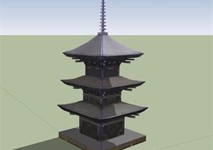 古典中式风格三层塔素材设计SU(草图大师)模型