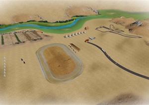 沙漠旅游景区 skp +psd后期处理