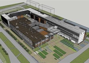 现代大学校园教学区风雨连廊式创意开放教学楼系馆