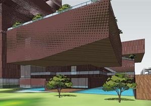 现代穿孔镂空金属表皮工业风雕塑式展览博物文化综合馆