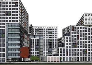 现代模数化建筑表皮大型绿色生态商业办公住宅楼文化创意园综合建筑