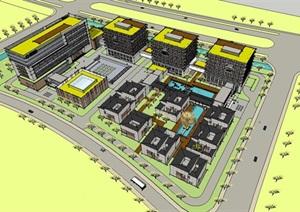 坡屋顶中式合院和现代大型办公写字楼综合创意产业办公园区