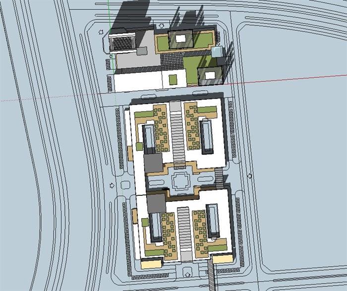 现代大型长条梯形企业办公产业园区总部基地规划办公楼设计(1)图片