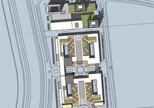 现代大型长条梯形企业办公产业园区总部基地规划办公楼设计