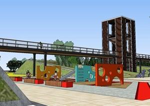 大型三角形基地地景景观长廊市民活动休闲运动公园