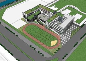 现代创意底层架空立体交通风雨长廊开放式中小学校园规划