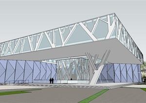 现代参数化象形树型结构柱树枝表皮底层悬挑架空文化展览博物馆