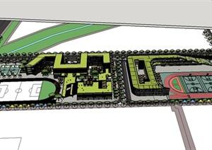 现代大型立体连通开放交流式创意折线形屋顶平台中小学校园规划设计