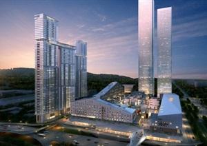 山型坡屋顶公寓酒店休闲购物体验小镇城市中心商务综合体CBD