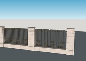 围墙,金属栏杆,石材柱子