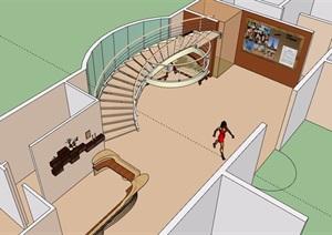 酒店室内楼梯设计SU(草图大师)模型