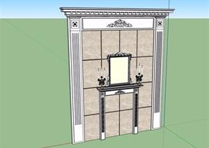 某欧式风格背景墙设计SU(草图大师)模型