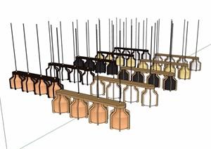 现代风格详细完整的吊灯多个素材设计SU(草图大师)模型