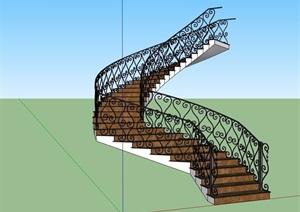 歐式風格詳細經典完整樓梯設計SU(草圖大師)模型