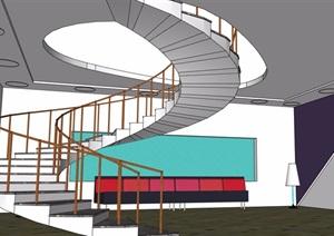 现代详细完整的楼梯设计SU(草图大师)模型