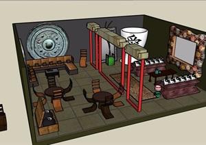中式风格室内空间客厅SU(草图大师)模型