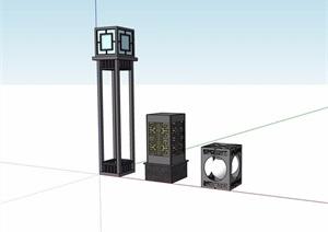 三种中式景观灯设计SU(草图大师)模型