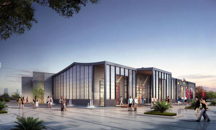 现代中式曲面坡屋顶景区游客接待服务中心商业活动会馆su 超清效果图图片