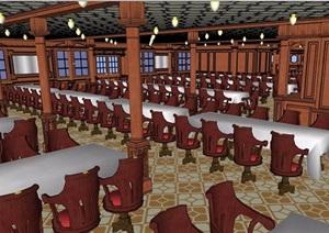 現代風格經典的餐飲空間SU(草圖大師)模型