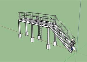 某室内无材质贴图楼梯素材设计SU(草图大师)模型