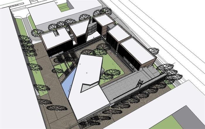 现代庭院围合式丰富立体空间木格栅清水混凝土混合表皮学院系馆教学区