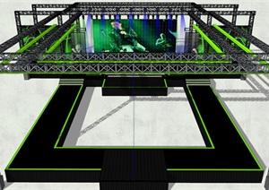 現代簡約鋼架舞臺場景SU(草圖大師)模型1