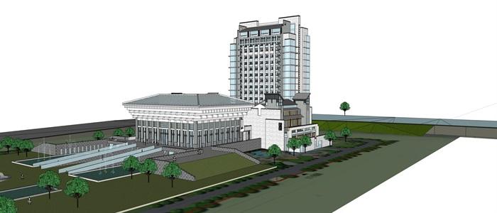 知筑导航_SU酒店、旅馆、公寓综合大楼建筑精细SU模型(2)