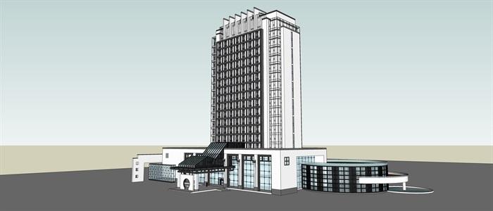 知筑导航_SU酒店、旅馆、公寓综合大楼建筑精细SU模型(3)