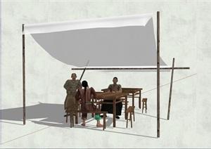 中国古代小吃摊人物设计素材SU(草图大师)模型
