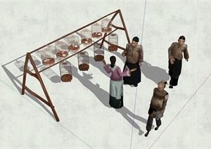 中国古代老街商铺人物素材SU(草图大师)模型