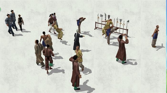 古代人物素材详细完整设计su模型10[原创]
