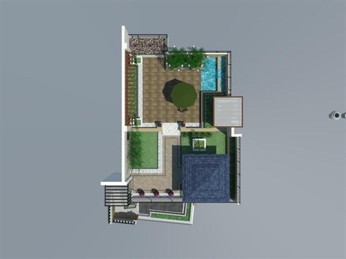 SU草圖大師庭院花園模型 (87)(1)
