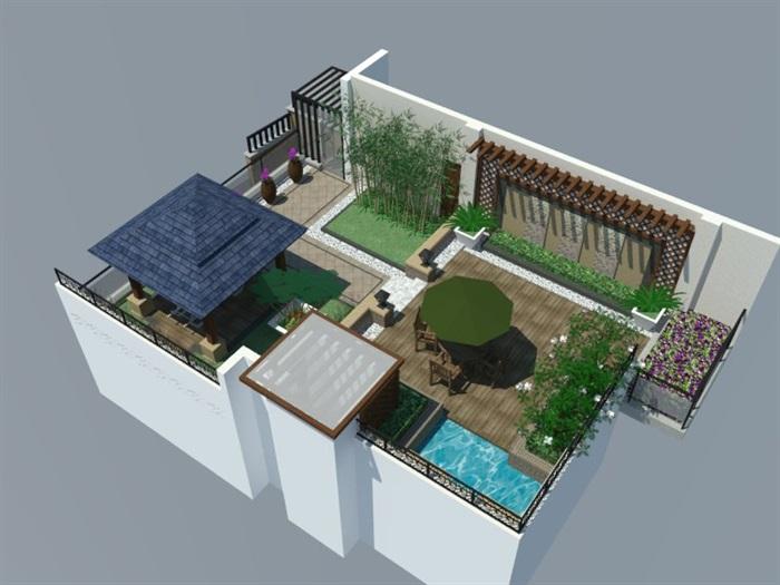 SU草圖大師庭院花園模型 (87)(2)