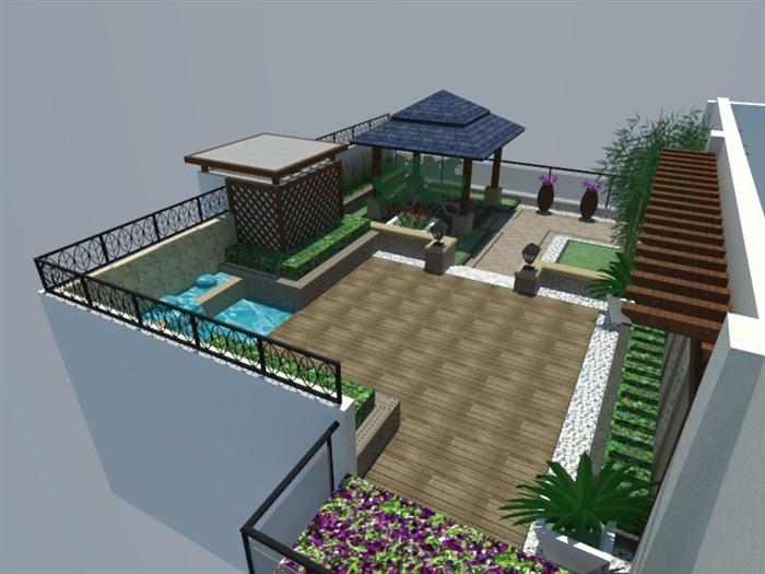 SU草圖大師庭院花園模型 (87)(6)