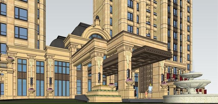 北京某新古典住宅高層、中式會所建筑設計方案SU模型(附CAD平面圖、效果圖)