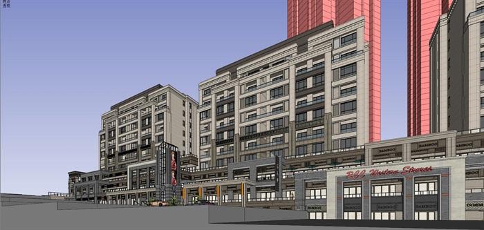 某居住区高层+沿街商业su精细模型酷(1)