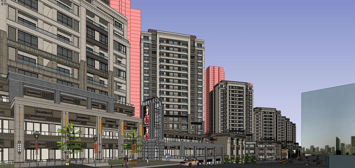 某居住区高层+沿街商业su精细模型酷(3)