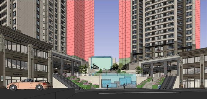 某居住区高层+沿街商业su精细模型酷(4)