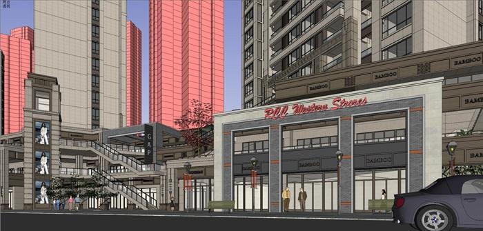 某居住区高层+沿街商业su精细模型酷(5)