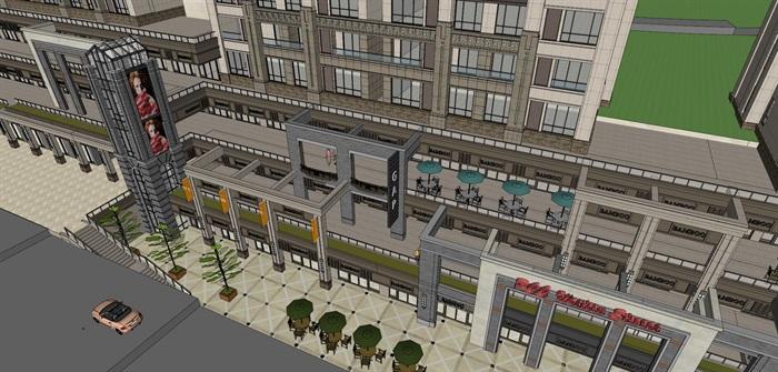 某居住区高层+沿街商业su精细模型酷(8)