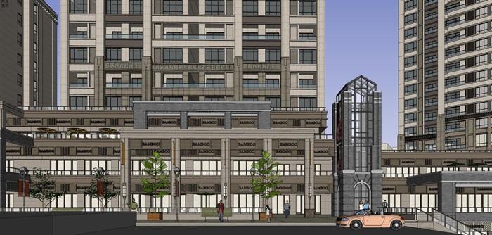 某居住区高层+沿街商业su精细模型酷(9)