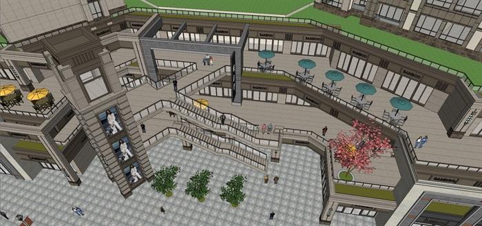 某居住区高层+沿街商业su精细模型酷(10)