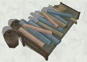 古代人物素材詳細完整設計SU(草圖大師)模型
